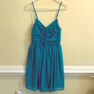 Turquoise, adjustable above the knee, party dress!